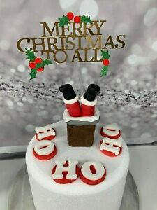 EDIBLE FATHER CHRISTMAS CAKE TOPPER FUNNY CHRISTMAS CAKE DECORATION , & card top