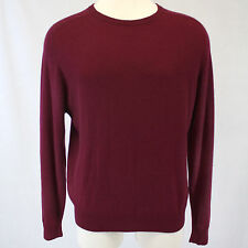 Marks & Spencer 2-Ply 100% Cashmere Sweater Crewneck Dark Red Long Sleeves Large