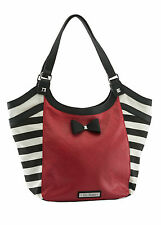GG Rose by Rock Rebel Sailor Stripe Tote Bag with Bow in Red