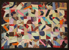 ANTIQUE SATIN PATCHWORK QUILT - CLOTH BACK FROM REVERE BOSTON SUGAR BAGS