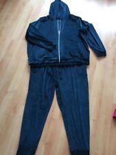 NEW M&S Ladies Petrol Velvet Look Stretch Hooded Top & Joggers Lounge Suit Sz 22