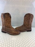 WOLVERINE Rancher Brown Leather Square Toe Wellington Work Boots Men's Size 9 M