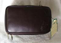 DOPP JUNIOR MINI FLAT Style Brown Leather Travel Kit Shaving Case NEW NWT
