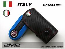 Leather Key fob Holder Case Chain Cover FIT For FIAT 500 PUNTO SEDICI QUBO FI032
