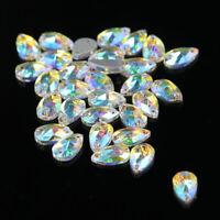 48Pcs Water Teardrop Shape 12 x 7 mm Crystal AB Sew on Rhinestones Flatback