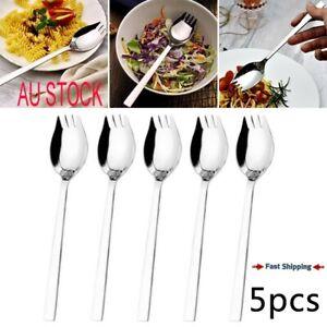 5x 2 In 1 Stainless Steel Spork Soup Salad Spoon Fork Cutlery Tableware Picnic