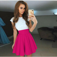 Womens Lace Party Cocktail Mini Dress Ladies Summer Short Sleeve Skater  Dresses c58c4a348