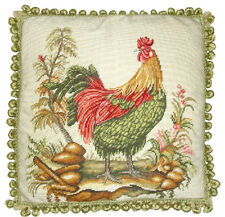 "Red and Green Rooster Needlepoint 20"" Pillow Soft Green Ball Fringe"