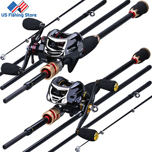 Sougayilang Baitcasting Rod and 11+1BB Casting Reel Carbon Fiber Fishing Combos
