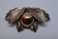 Vintage Bell Copper Pin Brooch & Earring Set - Leaves & Berry Signed BEAUTIFUL!