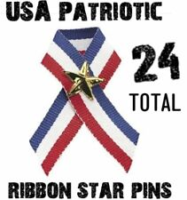 24 USA American Flag Patriotic Ribbons with stars -  wholesale lot