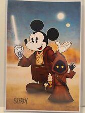 Nathan Szerdy SIGNED Jedi Mickey Mouse Comic Art Print Star Wars Jawa Lightsaber