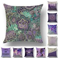Cotton Linen Dream Purple Pillow Cases Sofa Waist Throw Cushion Cover Home Decor