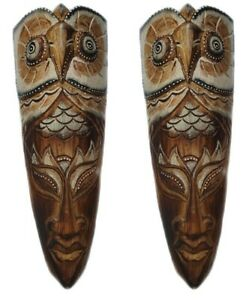 2 x 30cm TRIBAL WOODEN WALL MASKS HAND CARVED WOOD TRIBAL OWL MASK (PAIR OF)