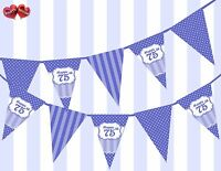 Brilliant Blue Happy 75th Birthday Vintage Polka Dots Theme Bunting Banner Party