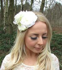 Ivory Cream Rose Flower Fascinator Races Headband Headpiece Hair Band Vtg 2257