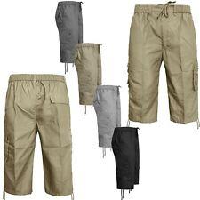 MENS 3/4 SHORTS ELASTICATED WAIST CARGO COMBAT TROUSERS POCKET SUMMER PANT M-3XL