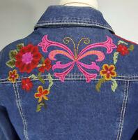 Life Style Embroidered Trucker Jacket M  Medium Wash Denim