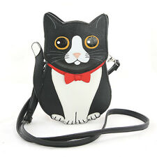 Sleepyville Critters - Black Tuxedo Cat Crossbody Bag in Vinyl Material