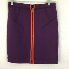 French Connection Womens Bodycon Bandage Skirt Purple Red Zipper Size 6