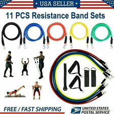 11PCS Sets Resistance Bands Yoga Pilates Abs Exercise Fitness Tube Workout Bands