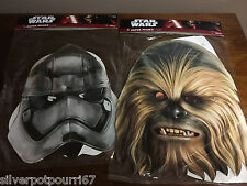 Lot of 2 New Star Wars Paper Masks from Disney