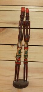 Vintage African hand carving wood tribal couple figurine