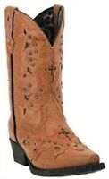 Laredo Cross and Studs Tan Girls Western Snip Toe Boots LC2283 NIB Size 2