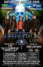 """Queensryche / Rods / Mobday/Into Shadow """"Live"""" 2015 Endicott Concert Tour Poster"""