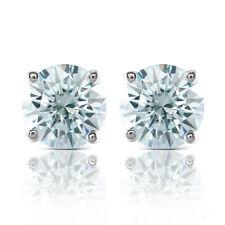 White Gold Plated Slight Blue Moissanite Stud Push Earrings  Back for Women