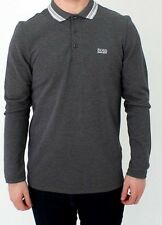 Mens Hugo Boss Paddy Polo T Shirt Long Sleeve Grey 50277358 Size S