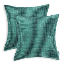 2Pcs Square Pillows Throw Cushion Covers Solid Soft Corduroy Corn Stripes 22x22""
