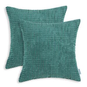"2Pcs Square Pillows Throw Cushion Covers Solid Soft Corduroy Corn Stripes 22x22"""
