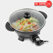 5L Electric Wok Non Stick Cool Touch Handles Healthy Stir Fry 4 Heat Settings