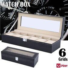 Leather Watch Jewelry Display Storage Holder Case 6 Grids Box Organizer Gift AU