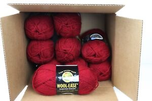 9 Skeins Lion Brand Wool-Ease Yarn Cranberry #138 Dye Lot #28286 Worsted Weight