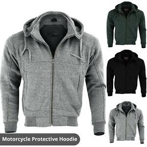 Mens Motorcycle Motorbike Armoured Hoodie Fleece Jacket Zip Up Removable Armour