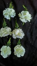 6 NEW IVORY  SILK CARNATION/FERN BUTTONHOLES.WEDDING,.PARTY,GUESTS,OCCASSIONS