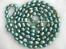 """freshwater pearl green baroque 8-10mm necklace 45"""" wholesale bead nature gift"""