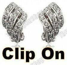 CLIP ON rhinestone CURVED CRYSTAL TWIST huggie ELEGANT EARRINGS diamante silver