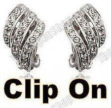 A Clip Strass in Cristallo Curvo Twist Huggie Orecchini Eleganti Argento Diamante