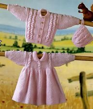 BABY DRESS CARDIGAN BONNET KNITTING PATTERN  DOUBLE KNIT 16/22 INCH (1414)