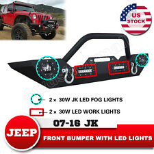 Front Winch Bumper  Bull Bar With LED Fog and Work Lights 07-16 Jeep JK Wrangler
