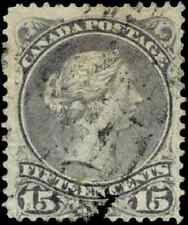 Canada #29 used F 1868 Queen Victoria 15c grey violet Large Queen CV$30.00