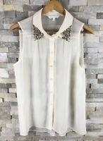 Julien Macdonald Ladies Size 14 Embellished Light Shirt Blouse Tunic