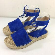 Andre Assous Vibrant Blue Espadrille Sandals Anthropologie 38 7.5 8 Ankle strap