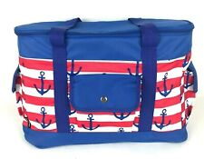Tommy Bahama Insulated Soft Cooler Tote Bag Nautical Anchors Patriotic Red Blue