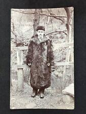 Vintage Postcard: RP Anonymous People: Men #A8 : Man Outside Fur Coat Hat Europe