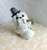 Maltese New Years Sculpture dog lover Gift Clay Mini by Raquel at theWRC
