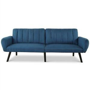 Modern Mid-Century Navy Blue Linen Futon Sofa Bed Couch